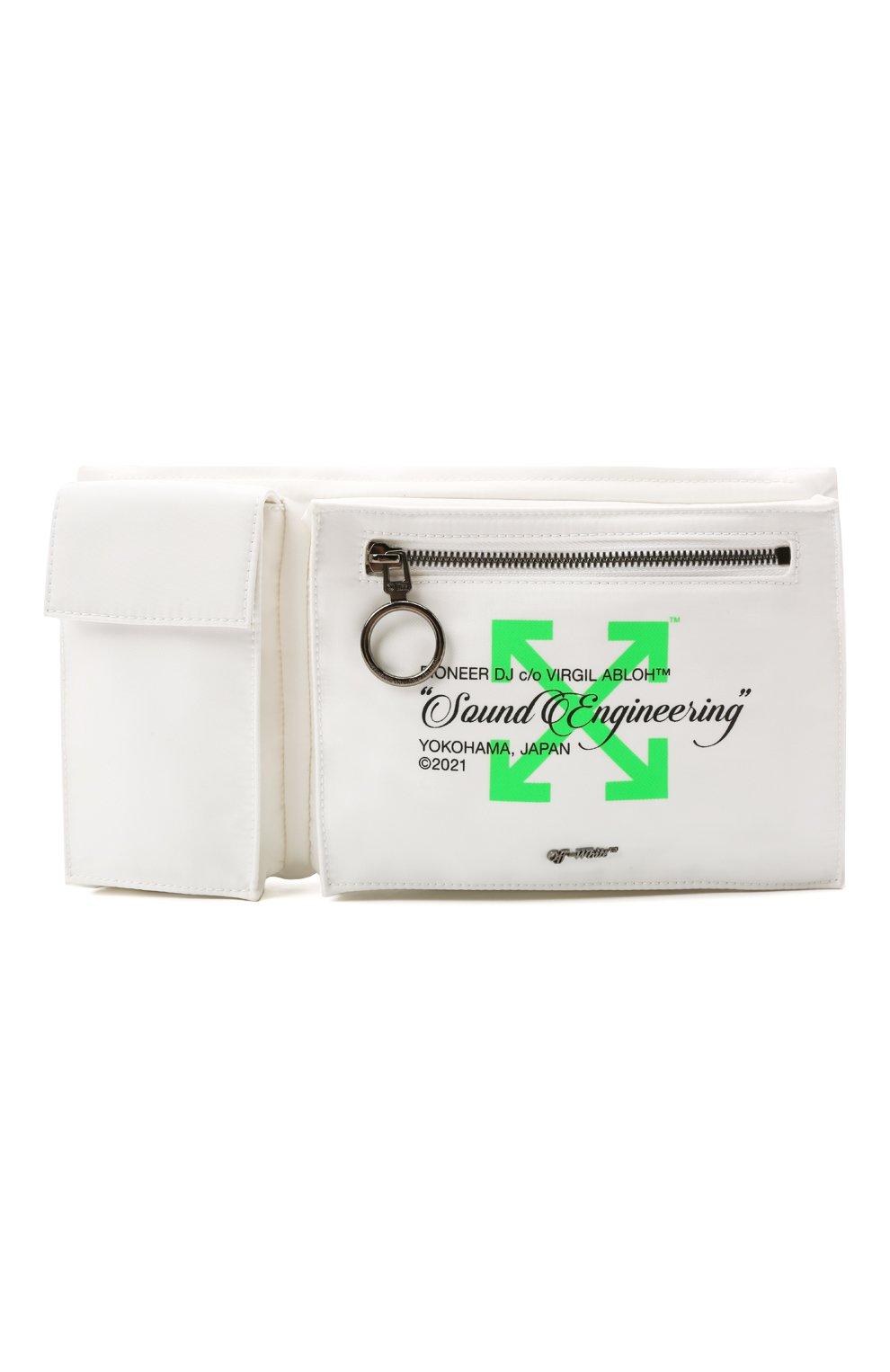 Мужская текстильная поясная сумка OFF-WHITE белого цвета, арт. 0MN0004G21FAB001   Фото 1 (Ремень/цепочка: На ремешке; Материал: Текстиль)