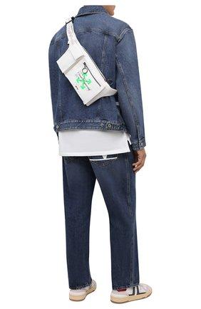 Мужская текстильная поясная сумка OFF-WHITE белого цвета, арт. 0MN0004G21FAB001   Фото 2 (Ремень/цепочка: На ремешке; Материал: Текстиль)