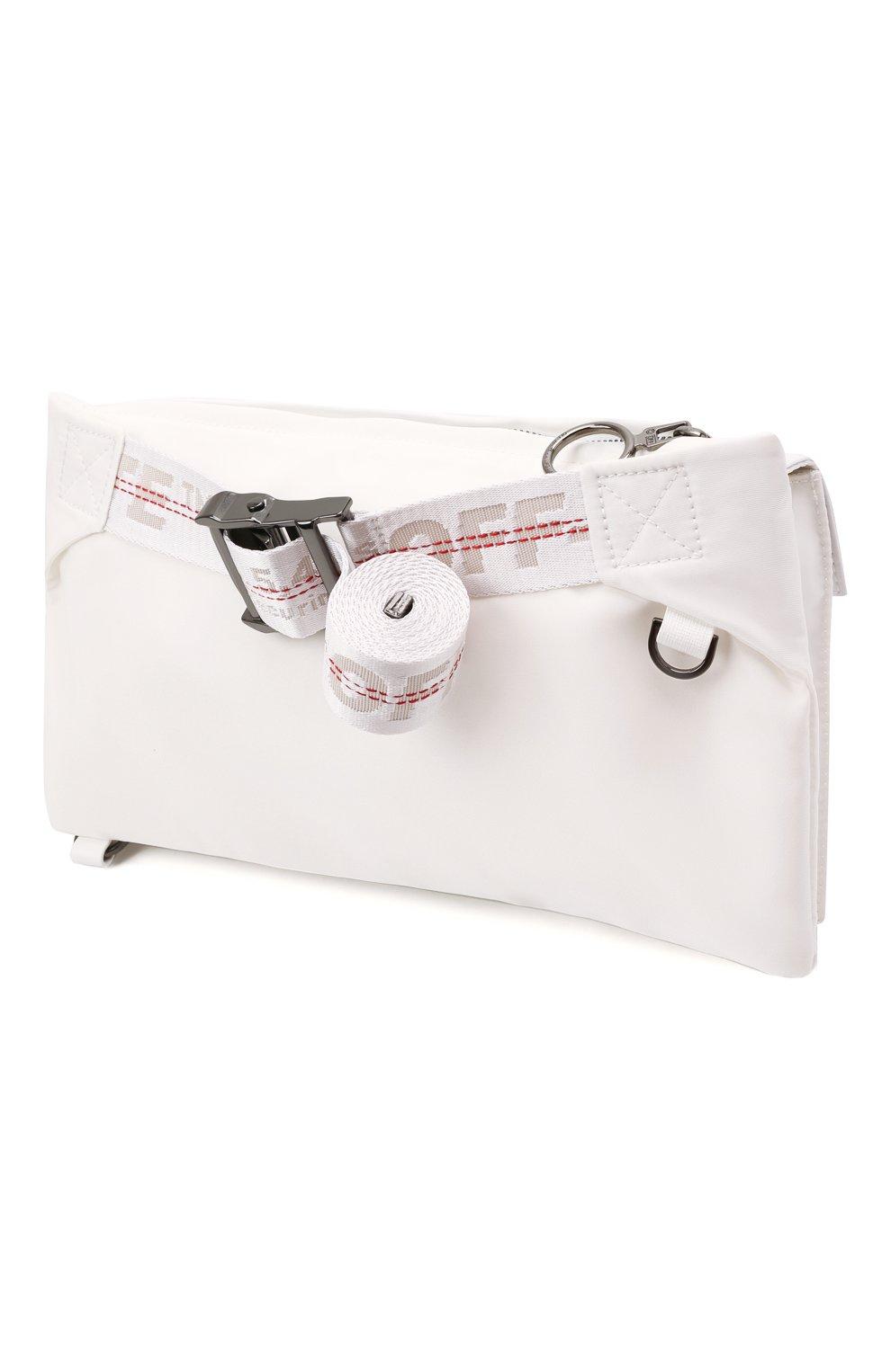 Мужская текстильная поясная сумка OFF-WHITE белого цвета, арт. 0MN0004G21FAB001   Фото 3 (Ремень/цепочка: На ремешке; Материал: Текстиль)