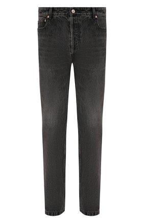 Мужские джинсы BALENCIAGA серого цвета, арт. 657614/TBP47   Фото 1 (Длина (брюки, джинсы): Стандартные; Материал внешний: Хлопок; Кросс-КТ: Деним; Стили: Гранж; Силуэт М (брюки): Прямые; Детали: Потертости)