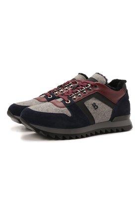Мужские комбинированные кроссовки BOGNER разноцветного цвета, арт. 12149361/SEATTLE M 9 A | Фото 1 (Подошва: Массивная; Материал утеплителя: Натуральный мех; Материал внутренний: Натуральная кожа; Стили: Классический)