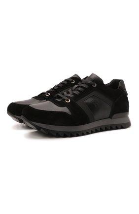 Мужские комбинированные кроссовки BOGNER черного цвета, арт. 12149381/SEATTLE M 11 | Фото 1 (Подошва: Плоская; Материал внутренний: Натуральная кожа; Стили: Классический)