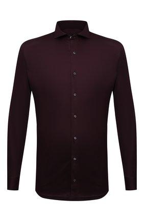 Мужская хлопковая рубашка VAN LAACK бордового цвета, арт. M-PER-L/187048 | Фото 1 (Материал внешний: Хлопок; Случай: Повседневный; Рубашки М: Classic Fit; Принт: Однотонные; Воротник: Акула; Рукава: Длинные; Манжеты: На пуговицах; Стили: Классический; Длина (для топов): Стандартные)