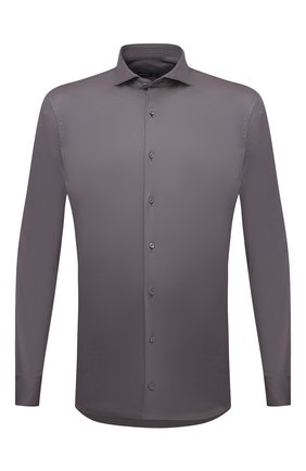Мужская хлопковая рубашка VAN LAACK темно-серого цвета, арт. M-PER-LSF/180031 | Фото 1 (Материал внешний: Хлопок; Случай: Повседневный; Рубашки М: Classic Fit; Принт: Однотонные; Воротник: Акула; Рукава: Длинные; Манжеты: На пуговицах; Стили: Классический; Длина (для топов): Стандартные)