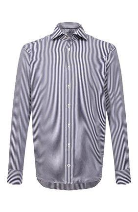 Мужская хлопковая сорочка VAN LAACK темно-синего цвета, арт. RIVARA-LPTF/151794 | Фото 1 (Рукава: Длинные; Материал внешний: Хлопок; Длина (для топов): Стандартные; Случай: Формальный; Рубашки М: Regular Fit; Принт: Полоска; Воротник: Акула; Манжеты: На пуговицах; Стили: Классический)