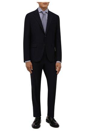 Мужская хлопковая сорочка VAN LAACK темно-синего цвета, арт. RIVARA-LPTF/151794 | Фото 2 (Рукава: Длинные; Материал внешний: Хлопок; Длина (для топов): Стандартные; Случай: Формальный; Рубашки М: Regular Fit; Принт: Полоска; Воротник: Акула; Манжеты: На пуговицах; Стили: Классический)