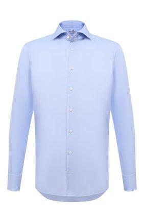 Мужская хлопковая сорочка VAN LAACK голубого цвета, арт. RIVARA-SF/160199 | Фото 1 (Материал внешний: Хлопок; Случай: Формальный; Рубашки М: Regular Fit; Принт: Однотонные; Воротник: Акула; Рукава: Длинные; Манжеты: На пуговицах; Стили: Классический; Длина (для топов): Стандартные)