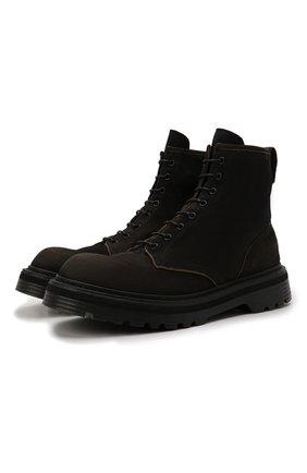 Мужские замшевые ботинки PREMIATA темно-коричневого цвета, арт. 31543/N0NE BRASS | Фото 1 (Материал внутренний: Натуральная кожа; Подошва: Массивная; Мужское Кросс-КТ: Ботинки-обувь; Материал внешний: Замша)