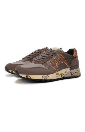 Мужские комбинированные кроссовки lander PREMIATA коричневого цвета, арт. LANDER/VAR5360 | Фото 1 (Материал внешний: Текстиль; Подошва: Массивная; Материал внутренний: Натуральная кожа; Стили: Гранж)