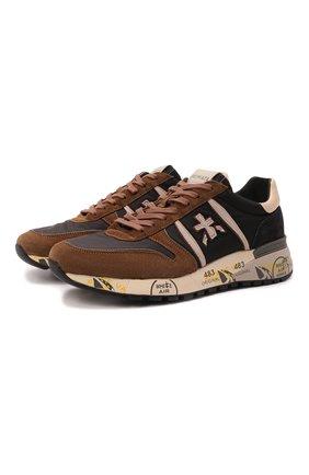 Мужские комбинированные кроссовки lander PREMIATA коричневого цвета, арт. LANDER/VAR5361 | Фото 1 (Подошва: Массивная; Материал внешний: Текстиль; Материал внутренний: Натуральная кожа; Стили: Гранж)