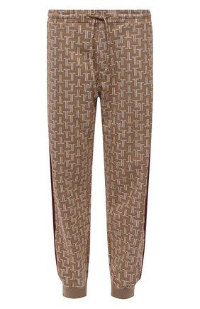 Мужские джоггеры LANVIN бежевого цвета, арт. RM-TR0061-4933-A21 | Фото 1 (Материал внешний: Вискоза; Длина (брюки, джинсы): Стандартные; Силуэт М (брюки): Джоггеры; Мужское Кросс-КТ: Брюки-трикотаж; Стили: Спорт-шик)