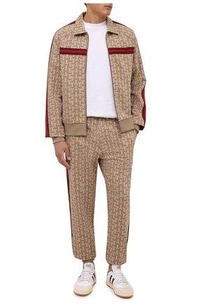 Мужские джоггеры LANVIN бежевого цвета, арт. RM-TR0061-4933-A21 | Фото 2 (Материал внешний: Вискоза; Длина (брюки, джинсы): Стандартные; Силуэт М (брюки): Джоггеры; Мужское Кросс-КТ: Брюки-трикотаж; Стили: Спорт-шик)