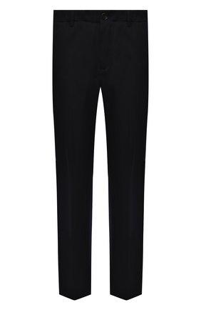 Мужские брюки из шерсти и хлопка LANVIN темно-синего цвета, арт. RM-TR0044-4969-A21 | Фото 1 (Материал внешний: Шерсть, Хлопок; Длина (брюки, джинсы): Стандартные; Случай: Повседневный; Стили: Кэжуэл)
