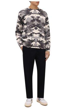 Мужские брюки из шерсти и хлопка LANVIN темно-синего цвета, арт. RM-TR0044-4969-A21 | Фото 2 (Материал внешний: Шерсть, Хлопок; Длина (брюки, джинсы): Стандартные; Случай: Повседневный; Стили: Кэжуэл)