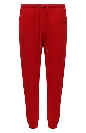 Мужские хлопковые джоггеры LANVIN красного цвета, арт. RM-TR0041-J008-A21 | Фото 1 (Длина (брюки, джинсы): Стандартные; Материал внешний: Хлопок; Силуэт М (брюки): Джоггеры; Мужское Кросс-КТ: Брюки-трикотаж; Стили: Спорт-шик)