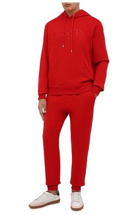 Мужские хлопковые джоггеры LANVIN красного цвета, арт. RM-TR0041-J008-A21 | Фото 2 (Длина (брюки, джинсы): Стандартные; Материал внешний: Хлопок; Силуэт М (брюки): Джоггеры; Мужское Кросс-КТ: Брюки-трикотаж; Стили: Спорт-шик)