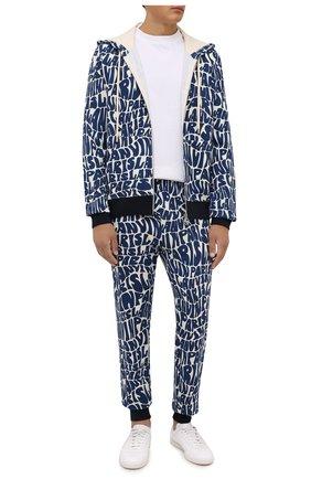 Мужской хлопковая толстовка LANVIN синего цвета, арт. RM-H00006-J064-A21 | Фото 2 (Рукава: Длинные; Материал внешний: Хлопок; Длина (для топов): Стандартные; Мужское Кросс-КТ: Толстовка-одежда; Стили: Спорт-шик)
