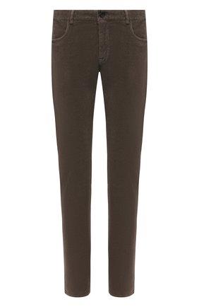 Мужские хлопковые брюки CANALI хаки цвета, арт. 91551/PT00499 | Фото 1 (Материал внешний: Хлопок; Стили: Кэжуэл; Длина (брюки, джинсы): Стандартные; Случай: Повседневный)