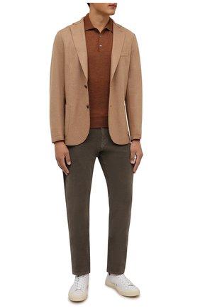 Мужские хлопковые брюки CANALI хаки цвета, арт. 91551/PT00499 | Фото 2 (Материал внешний: Хлопок; Стили: Кэжуэл; Длина (брюки, джинсы): Стандартные; Случай: Повседневный)