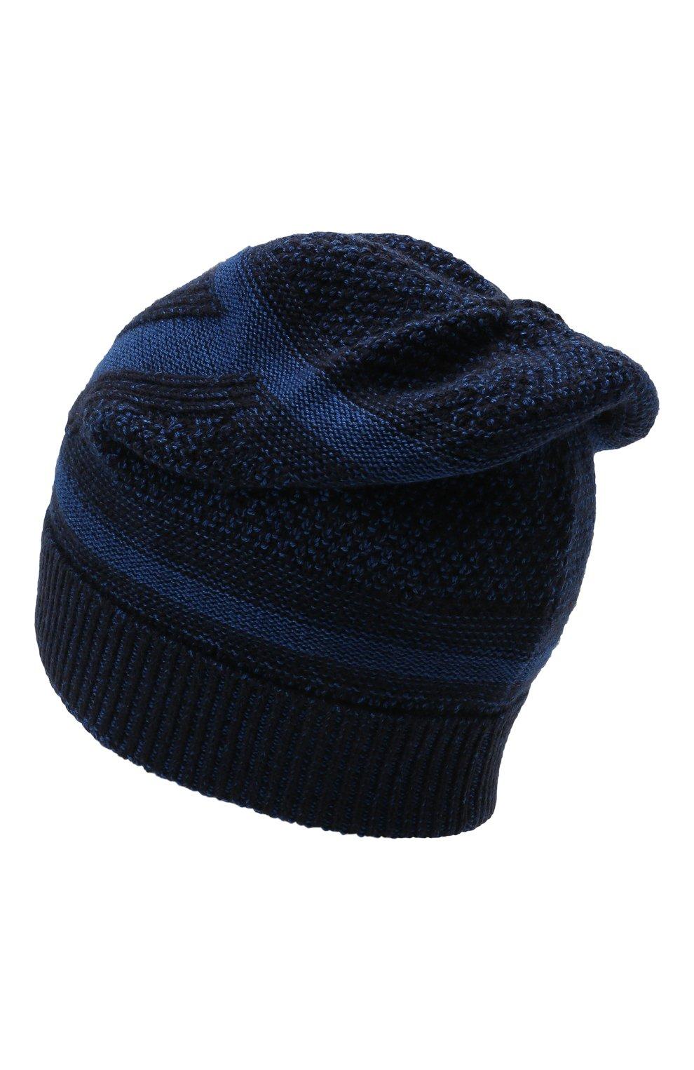 Мужская шапка из шерсти и шелка ZILLI SPORT темно-синего цвета, арт. MBW-B0508-PIZS1/ML01 | Фото 2 (Материал: Шерсть; Кросс-КТ: Трикотаж)