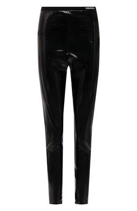 Женские брюки REDVALENTINO черного цвета, арт. WR0MD02A/68T | Фото 1 (Длина (брюки, джинсы): Стандартные; Материал внешний: Синтетический материал; Женское Кросс-КТ: Брюки-одежда; Силуэт Ж (брюки и джинсы): Узкие; Стили: Гранж)