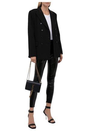 Женские брюки REDVALENTINO черного цвета, арт. WR0MD02A/68T | Фото 2 (Длина (брюки, джинсы): Стандартные; Материал внешний: Синтетический материал; Женское Кросс-КТ: Брюки-одежда; Силуэт Ж (брюки и джинсы): Узкие; Стили: Гранж)