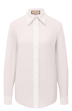 Женская шелковая рубашка GUCCI кремвого цвета, арт. 661738/ZAAZQ | Фото 1 (Материал внешний: Шелк; Женское Кросс-КТ: Рубашка-одежда; Принт: С принтом; Рукава: Длинные; Длина (для топов): Стандартные; Стили: Кэжуэл)