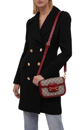 Женская сумка gg 1955 horsebit GUCCI красного цвета, арт. 658574/HUHHG | Фото 2 (Материал: Текстиль, Экокожа; Сумки-технические: Сумки через плечо; Размер: mini; Ремень/цепочка: На ремешке)