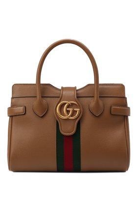 Женская сумка dahlia small GUCCI коричневого цвета, арт. 658450/1U1MT | Фото 1 (Ремень/цепочка: На ремешке; Материал: Натуральная кожа; Размер: small; Сумки-технические: Сумки top-handle, Сумки через плечо)