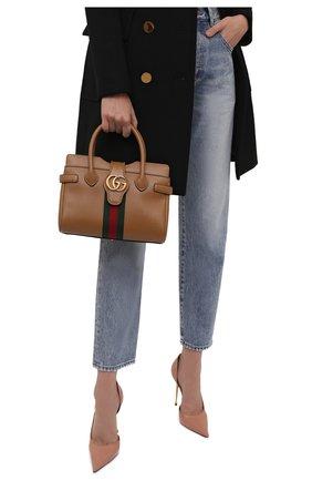 Женская сумка dahlia small GUCCI коричневого цвета, арт. 658450/1U1MT | Фото 2 (Ремень/цепочка: На ремешке; Материал: Натуральная кожа; Размер: small; Сумки-технические: Сумки top-handle, Сумки через плечо)