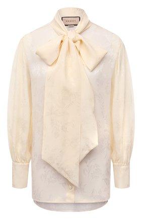Женская шелковая блузка GUCCI кремвого цвета, арт. 652112/ZAGNU | Фото 1 (Рукава: Длинные; Длина (для топов): Стандартные; Материал внешний: Шелк; Женское Кросс-КТ: Блуза-одежда; Принт: С принтом; Стили: Романтичный)