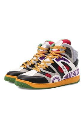 Мужские кеды basket GUCCI разноцветного цвета, арт. 661303/2SH90 | Фото 1 (Материал внешний: Текстиль, Экокожа; Подошва: Массивная; Материал внутренний: Текстиль)