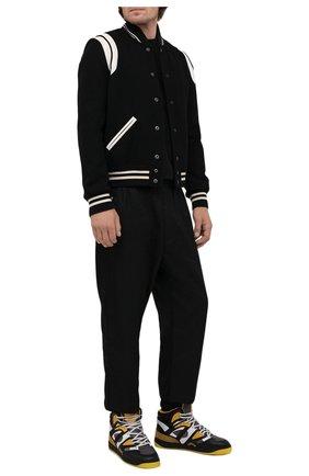 Мужские кеды basket GUCCI черного цвета, арт. 661308/2SH90 | Фото 2 (Материал внешний: Текстиль, Экокожа; Материал внутренний: Текстиль; Подошва: Массивная)
