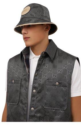 Мужская панама off the grid GUCCI серого цвета, арт. 627115/4HK79 | Фото 2 (Материал: Текстиль, Синтетический материал)