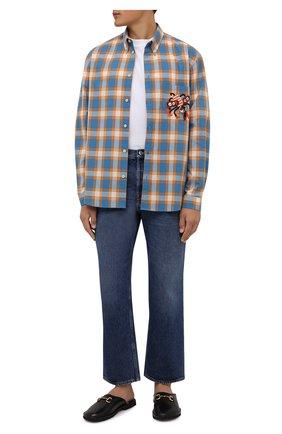 Мужская хлопковая рубашка GUCCI голубого цвета, арт. 654884/ZAG0Q | Фото 2