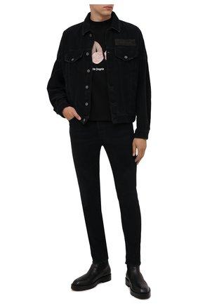 Мужская хлопковая куртка PALM ANGELS черного цвета, арт. PMYE006F21DEN0011010 | Фото 2