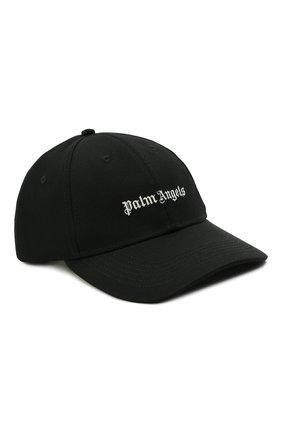 Мужской хлопковая бейсболка PALM ANGELS черного цвета, арт. PMLB044F21FAB0011001 | Фото 1 (Материал: Текстиль, Хлопок)