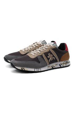 Мужские комбинированные кроссовки eric PREMIATA серого цвета, арт. ERIC/VAR5371 | Фото 1 (Материал внешний: Текстиль; Подошва: Массивная; Материал внутренний: Натуральная кожа; Стили: Гранж)