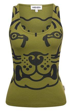 Женский хлопковая майка KENZO хаки цвета, арт. FB62TS6654JM | Фото 1 (Материал внешний: Хлопок; Женское Кросс-КТ: Майка-одежда; Длина (для топов): Стандартные; Стили: Спорт-шик)