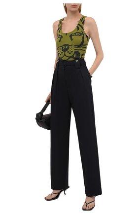 Женский хлопковая майка KENZO хаки цвета, арт. FB62TS6654JM | Фото 2 (Материал внешний: Хлопок; Женское Кросс-КТ: Майка-одежда; Длина (для топов): Стандартные; Стили: Спорт-шик)