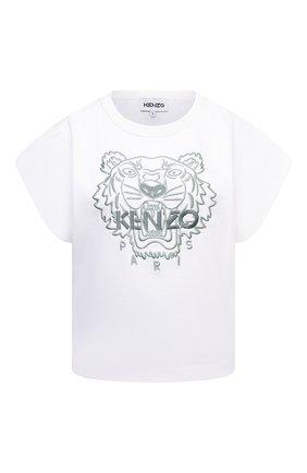 Женская хлопковая футболка KENZO белого цвета, арт. FB62TS6454YF | Фото 1 (Рукава: Короткие; Материал внешний: Хлопок; Длина (для топов): Стандартные; Женское Кросс-КТ: Футболка-одежда; Принт: С принтом; Стили: Спорт-шик)