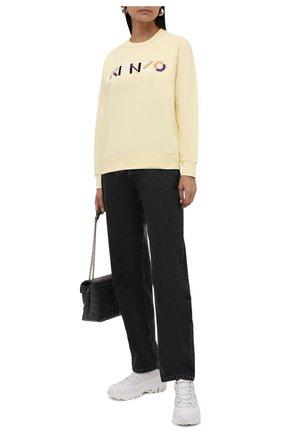 Женский хлопковый свитшот KENZO желтого цвета, арт. FB62SW8204M0   Фото 2 (Рукава: Длинные; Материал внешний: Хлопок; Длина (для топов): Стандартные; Женское Кросс-КТ: Свитшот-одежда; Стили: Спорт-шик)