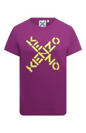 Женская хлопковая футболка kenzo sport KENZO фиолетового цвета, арт. FB52TS8504SJ   Фото 1 (Материал внешний: Хлопок; Женское Кросс-КТ: Футболка-одежда; Рукава: Короткие; Длина (брюки, джинсы): Стандартные; Принт: С принтом; Стили: Спорт-шик; Длина (для топов): Стандартные)