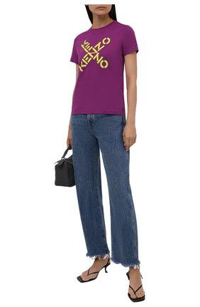 Женская хлопковая футболка kenzo sport KENZO фиолетового цвета, арт. FB52TS8504SJ   Фото 2 (Материал внешний: Хлопок; Женское Кросс-КТ: Футболка-одежда; Рукава: Короткие; Длина (брюки, джинсы): Стандартные; Принт: С принтом; Стили: Спорт-шик; Длина (для топов): Стандартные)