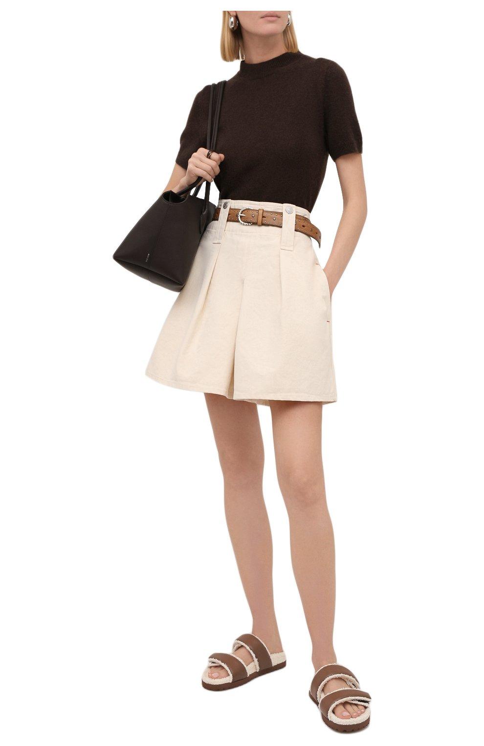 Женские хлопковые шорты ISABEL MARANT кремвого цвета, арт. SH0428-21A016I/DIC0CHIA | Фото 2 (Женское Кросс-КТ: Шорты-одежда; Длина Ж (юбки, платья, шорты): Мини; Материал внешний: Хлопок; Стили: Кэжуэл)