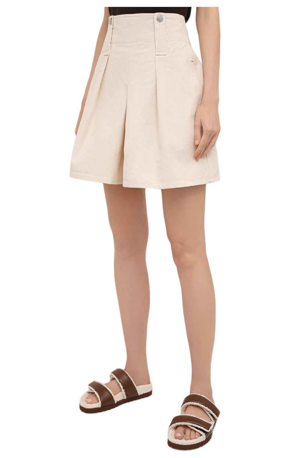 Женские хлопковые шорты ISABEL MARANT кремвого цвета, арт. SH0428-21A016I/DIC0CHIA | Фото 3 (Женское Кросс-КТ: Шорты-одежда; Длина Ж (юбки, платья, шорты): Мини; Материал внешний: Хлопок; Стили: Кэжуэл)