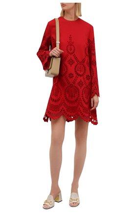 Женское платье из шерсти и шелка VALENTINO красного цвета, арт. WB3VAWD96GR   Фото 2 (Материал внешний: Шелк, Шерсть; Материал подклада: Вискоза; Длина Ж (юбки, платья, шорты): Мини; Рукава: Длинные; Женское Кросс-КТ: Платье-одежда; Стили: Романтичный; Случай: Повседневный)