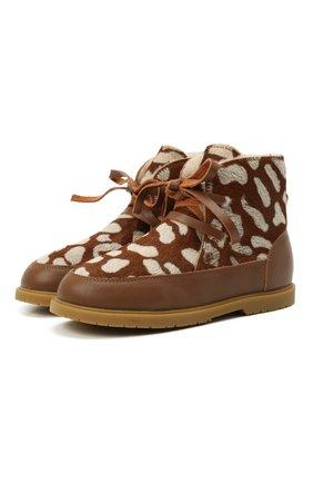 Детские кожаные ботинки DONSJE AMSTERDAM коричневого цвета, арт. 2019100-CB009/29-33   Фото 1 (Материал утеплителя: Натуральный мех)