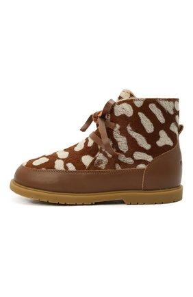 Детские кожаные ботинки DONSJE AMSTERDAM коричневого цвета, арт. 2019100-CB009/29-33   Фото 2 (Материал утеплителя: Натуральный мех)