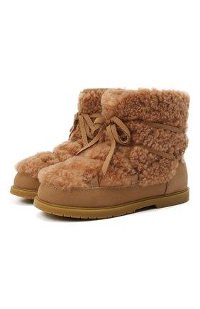 Детские кожаные ботинки с меховой отделкой DONSJE AMSTERDAM светло-коричневого цвета, арт. 2017800-CS002/29-33   Фото 1 (Материал утеплителя: Натуральный мех; Материал внешний: Натуральный мех)